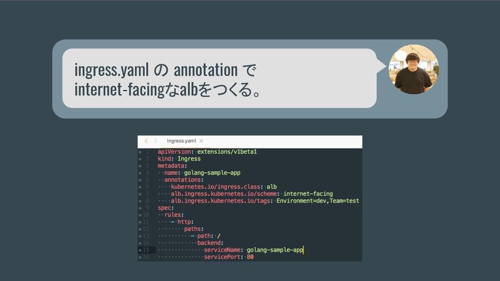 ingress.yaml の annotation で internet-facingなalb...