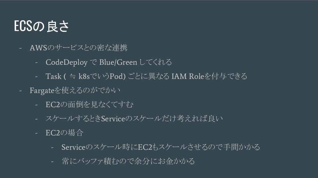 ECSの良さ - AWS のサービスとの密な連携 - CodeDeploy で Blue/Gr...