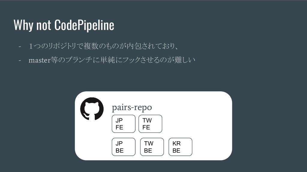 Why not CodePipeline - 1つのリポジトリで複数のものが内包されており、 ...