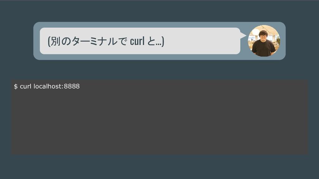 (別のターミナルで curl と...) $ curl localhost:8888