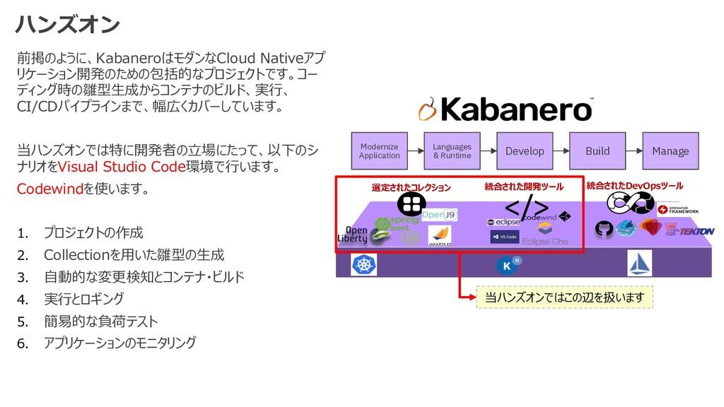 前掲のように、KabaneroはモダンなCloud Nativeアプ リケーション開発のための...