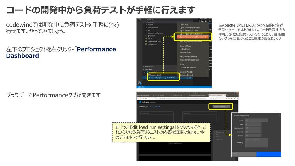 コードの開発中から負荷テストが⼿軽に⾏えます codewindでは開発中に負荷テストを⼿軽に(...