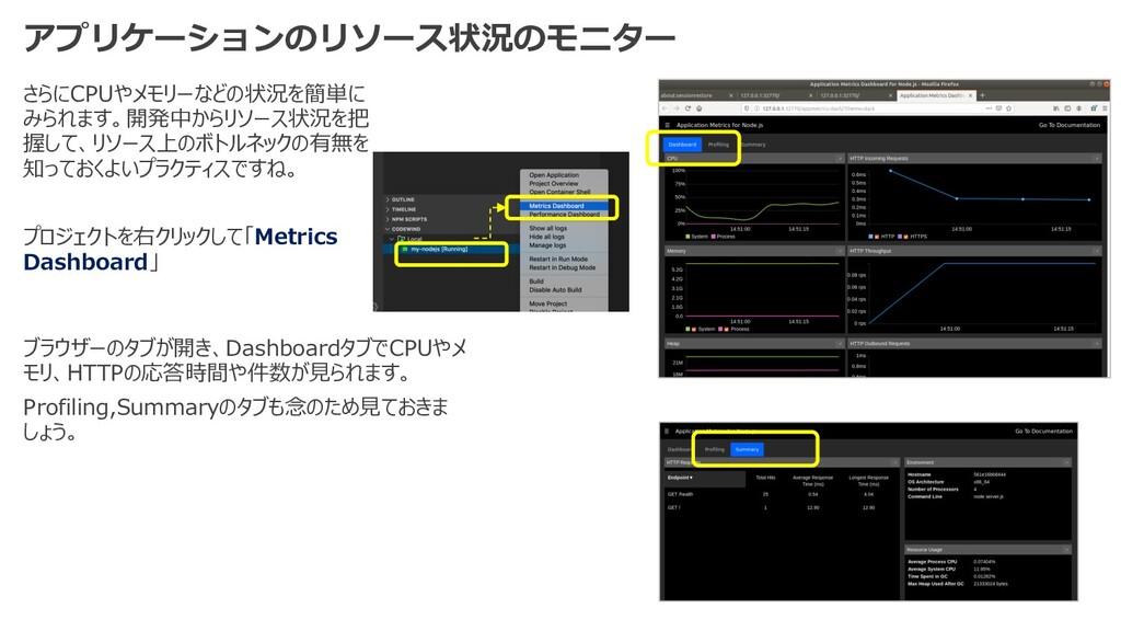 アプリケーションのリソース状況のモニター さらにCPUやメモリーなどの状況を簡単に みられます...