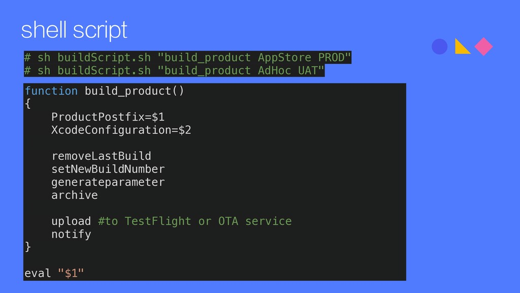 shell script function build_product() { Product...