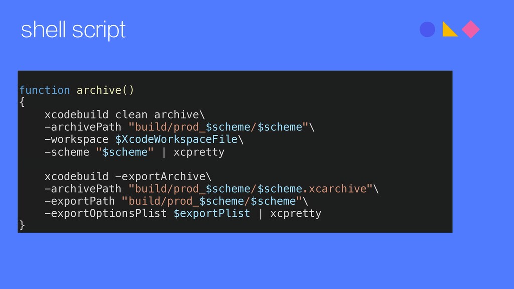 shell script function archive() { xcodebuild cl...