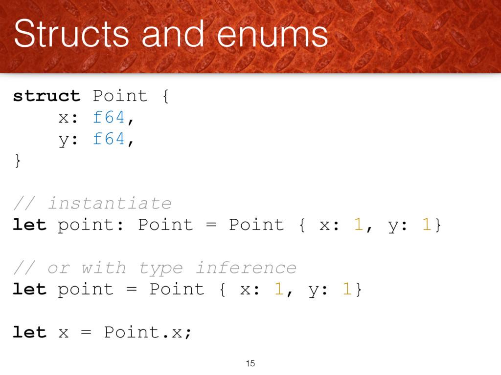 struct Point { x: f64, y: f64, } // instantiate...