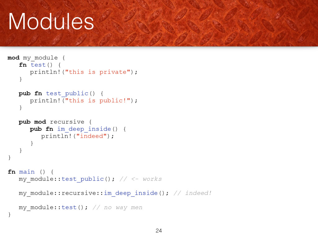 "mod my_module { fn test() { println!(""this is p..."