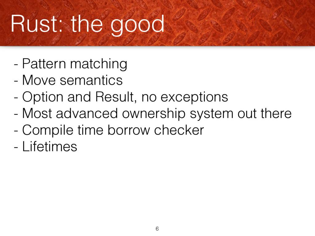 - Pattern matching - Move semantics - Option an...