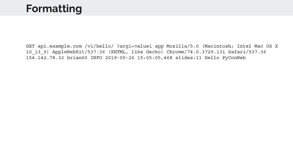 Formatting GET api.example.com /v1/hello/ ?arg1...