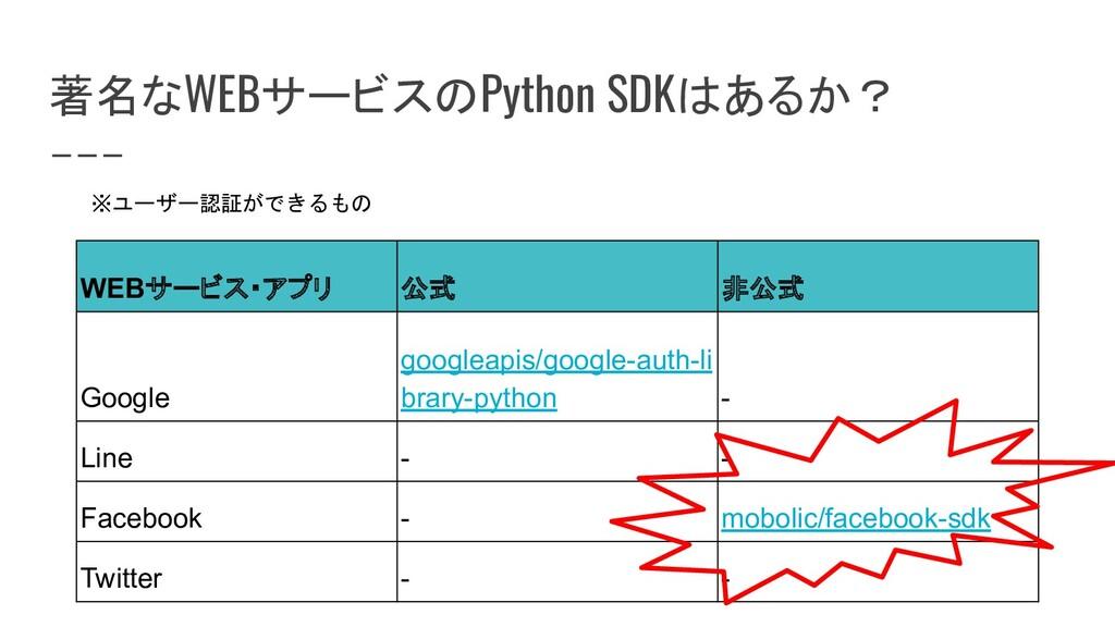 著名なWEBサービスのPython SDKはあるか? WEBサービス・アプリ 公式 非公式 G...
