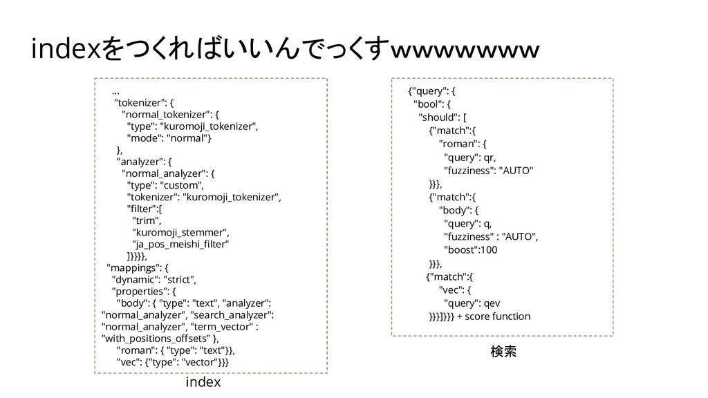 """indexをつくればいいんでっくすwwwwwww {""""query"""": { """"bool"""": { ..."""