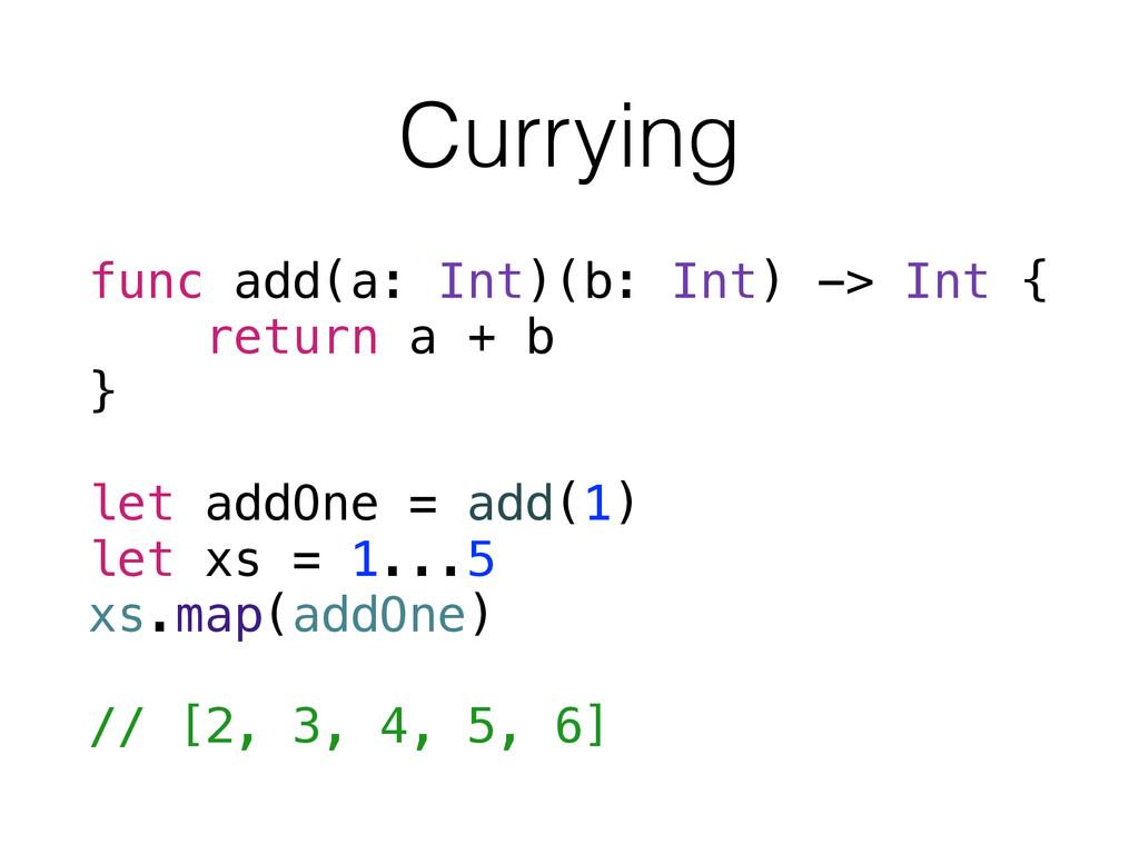 Currying func add(a: Int)(b: Int) -> Int { retu...
