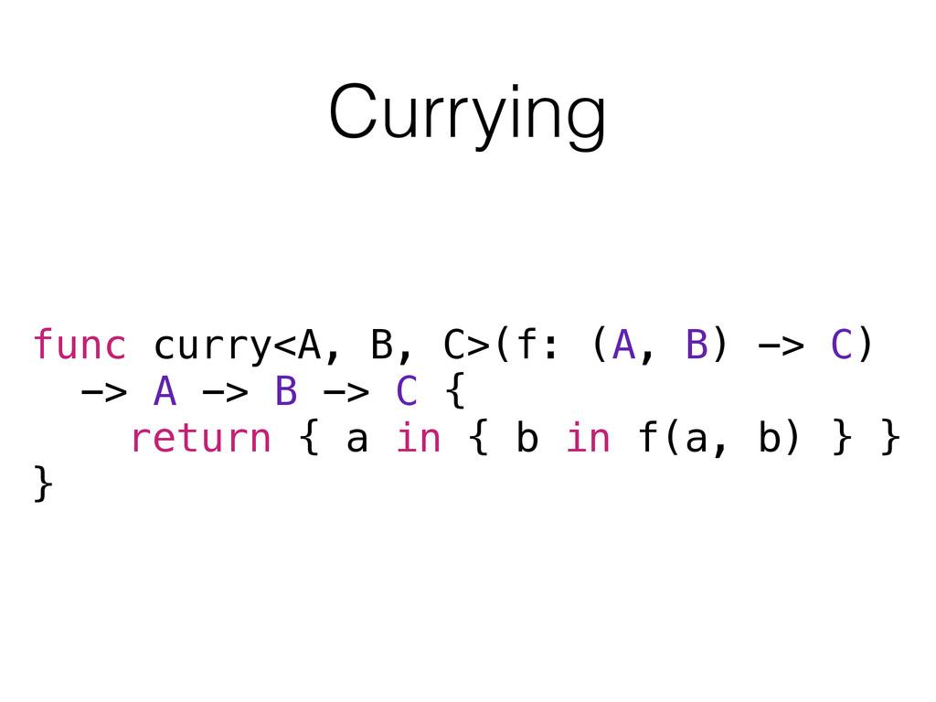 Currying func curry<A, B, C>(f: (A, B) -> C) ->...