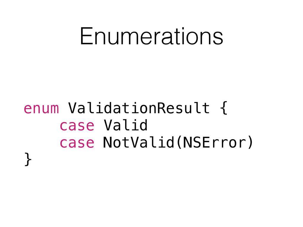 Enumerations enum ValidationResult { case Valid...