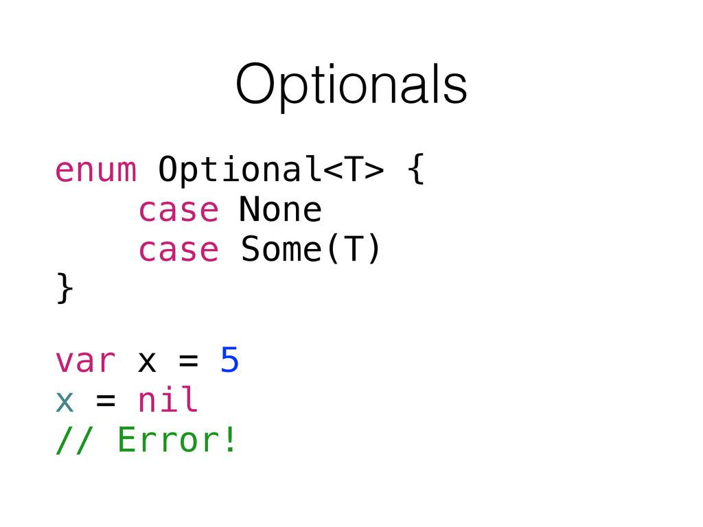 Optionals enum Optional<T> { case None case Som...