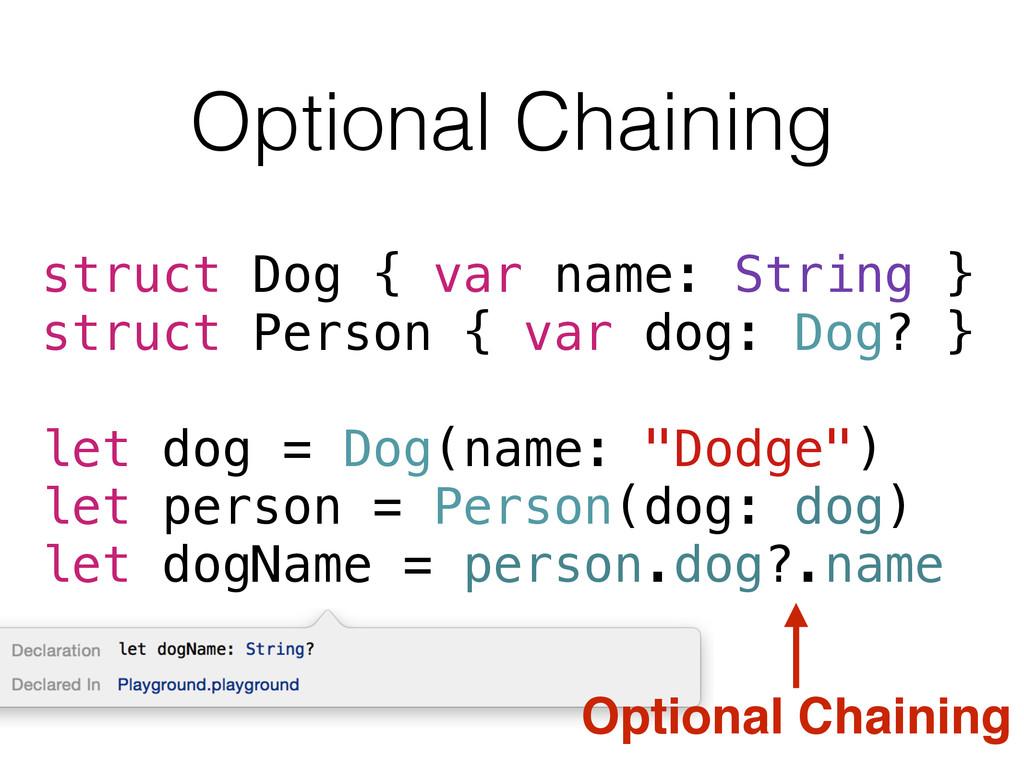 Optional Chaining struct Dog { var name: String...