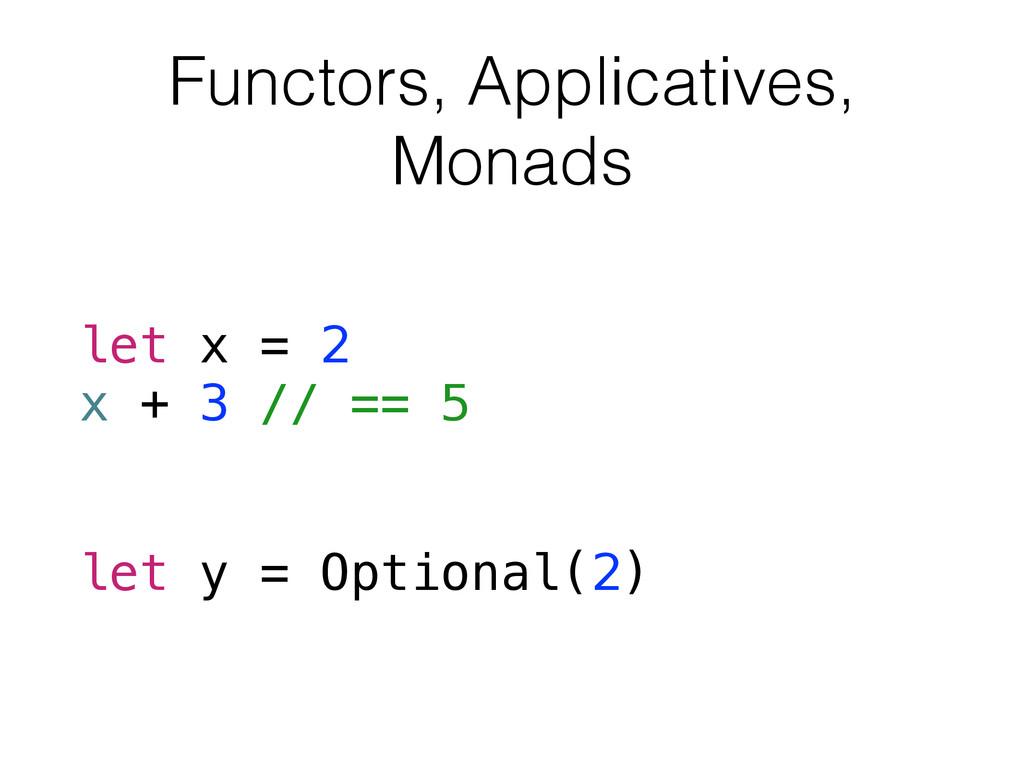 Functors, Applicatives, Monads let x = 2 x + 3 ...