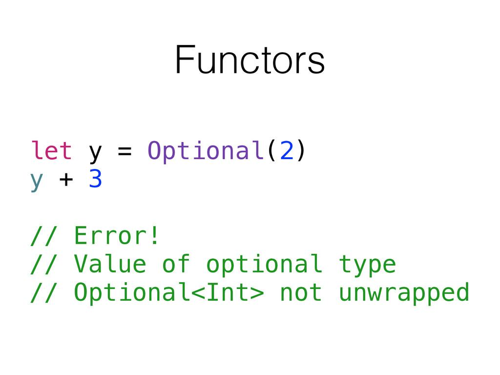 Functors let y = Optional(2) y + 3 // Error! //...