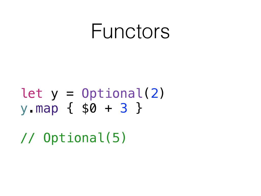 Functors let y = Optional(2) y.map { $0 + 3 } /...