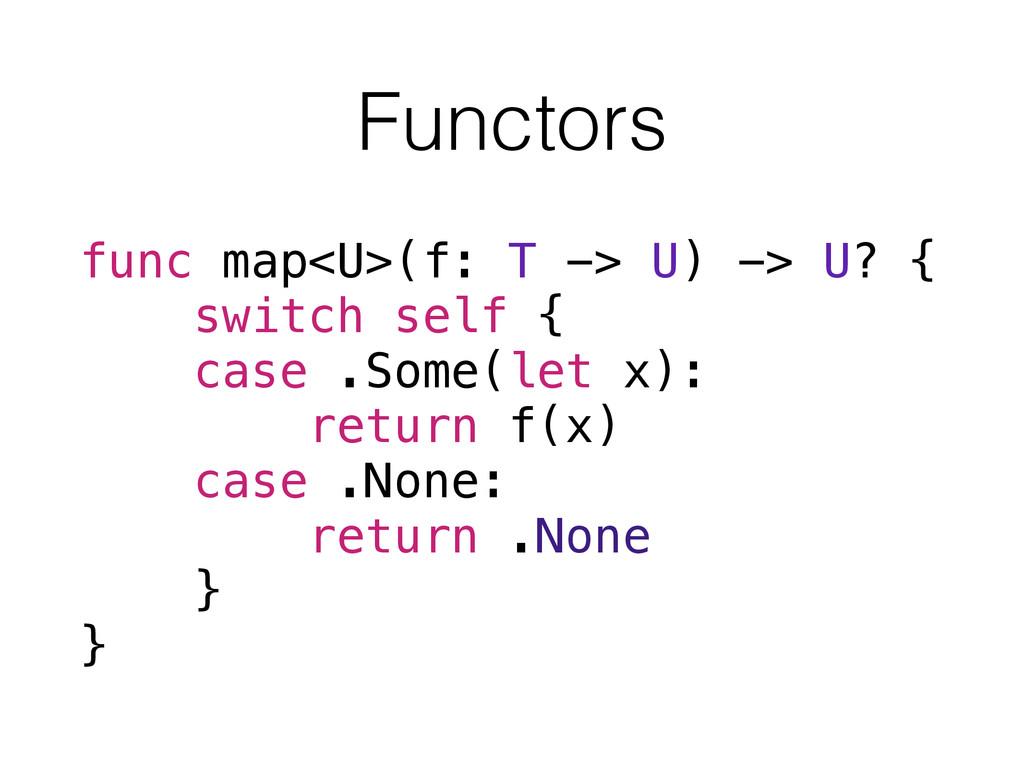 Functors func map<U>(f: T -> U) -> U? { switch ...
