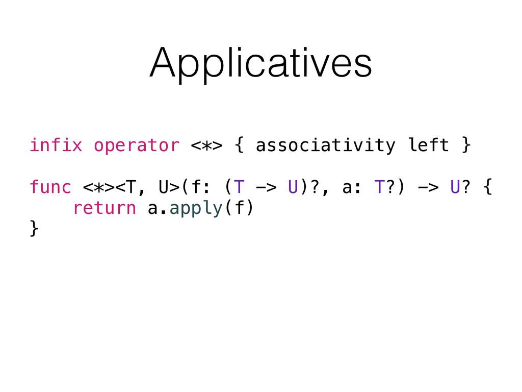 Applicatives infix operator <*> { associativity...