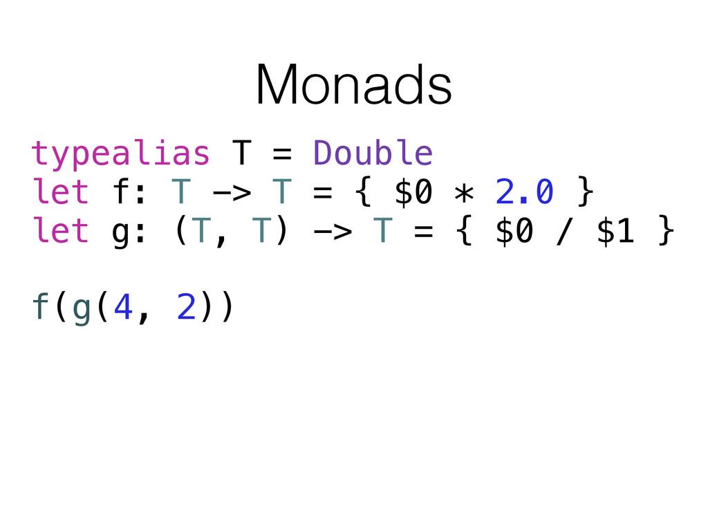Monads typealias T = Double let f: T -> T = { $...