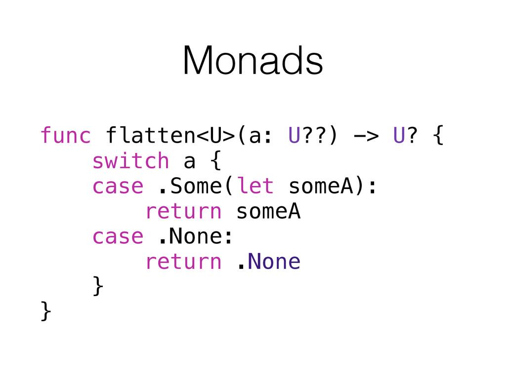 Monads func flatten<U>(a: U??) -> U? { switch a...