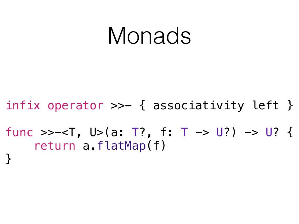 Monads infix operator >>- { associativity left ...