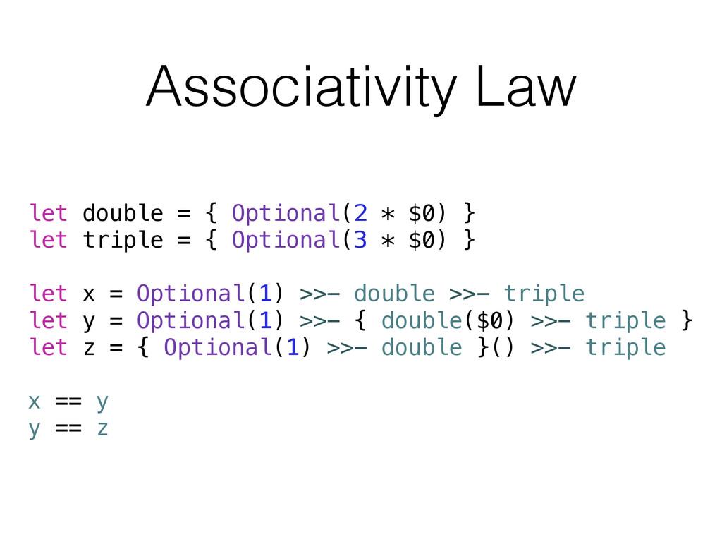 Associativity Law let double = { Optional(2 * $...