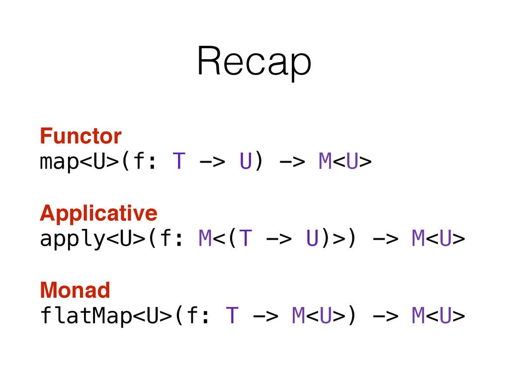 Recap Functor map<U>(f: T -> U) -> M<U> Applica...