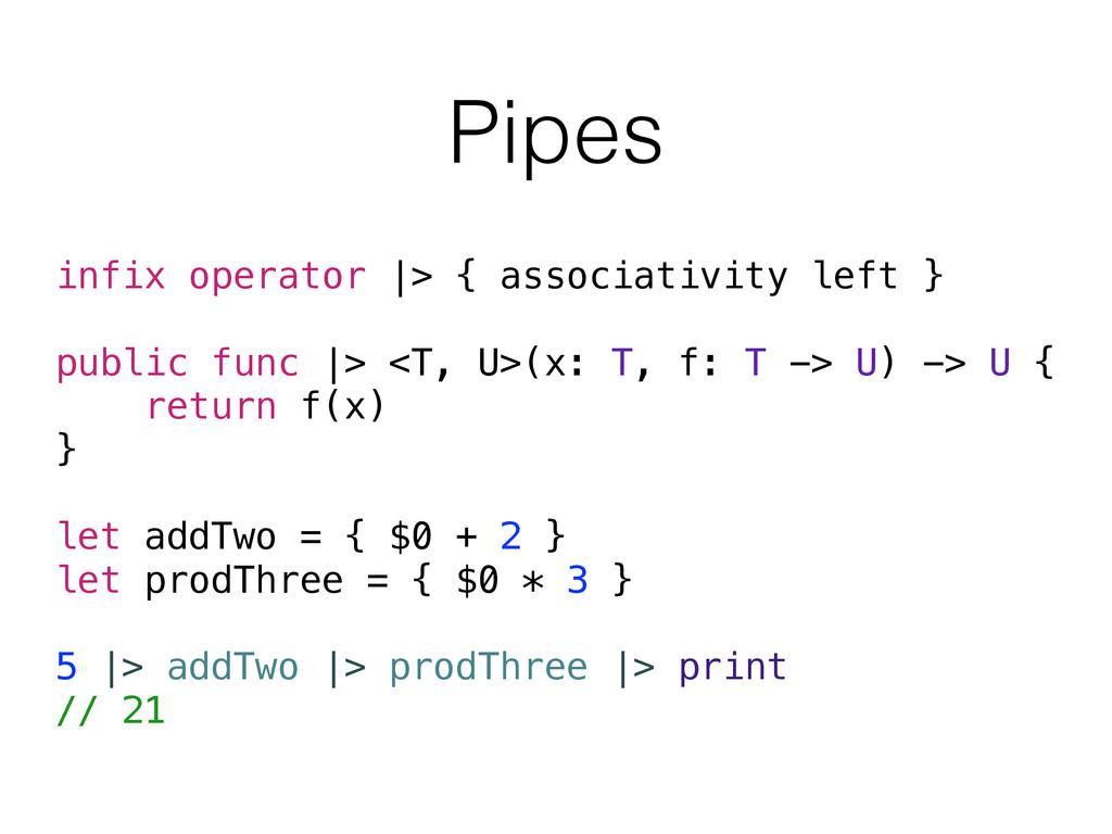 Pipes infix operator  > { associativity left } ...