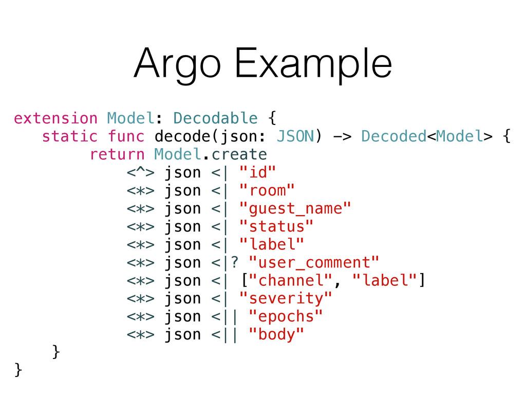 Argo Example extension Model: Decodable { stati...