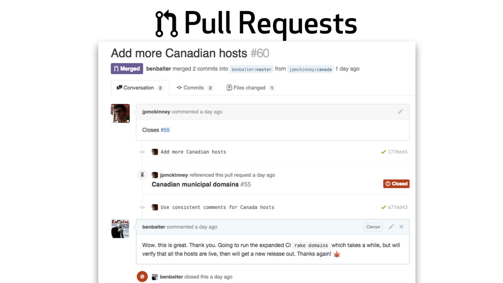 * Pull Requests