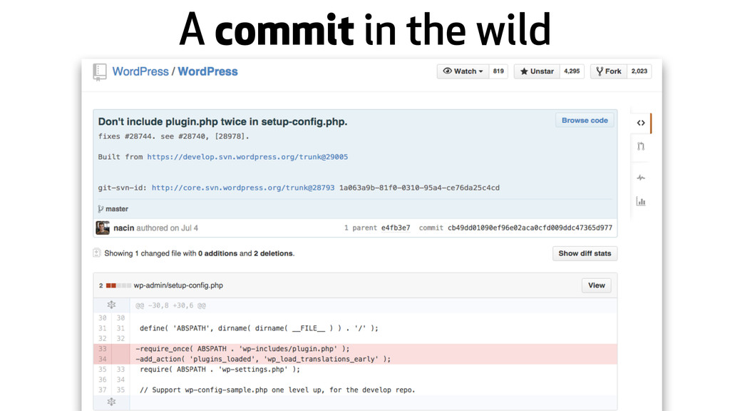 A commit in the wild