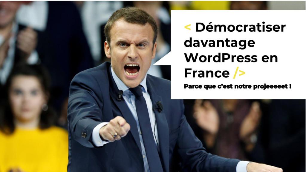 < Démocratiser davantage WordPress en France />...