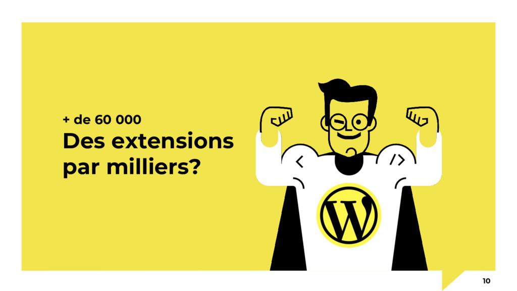 + de 60 000 Des extensions par milliers? 10