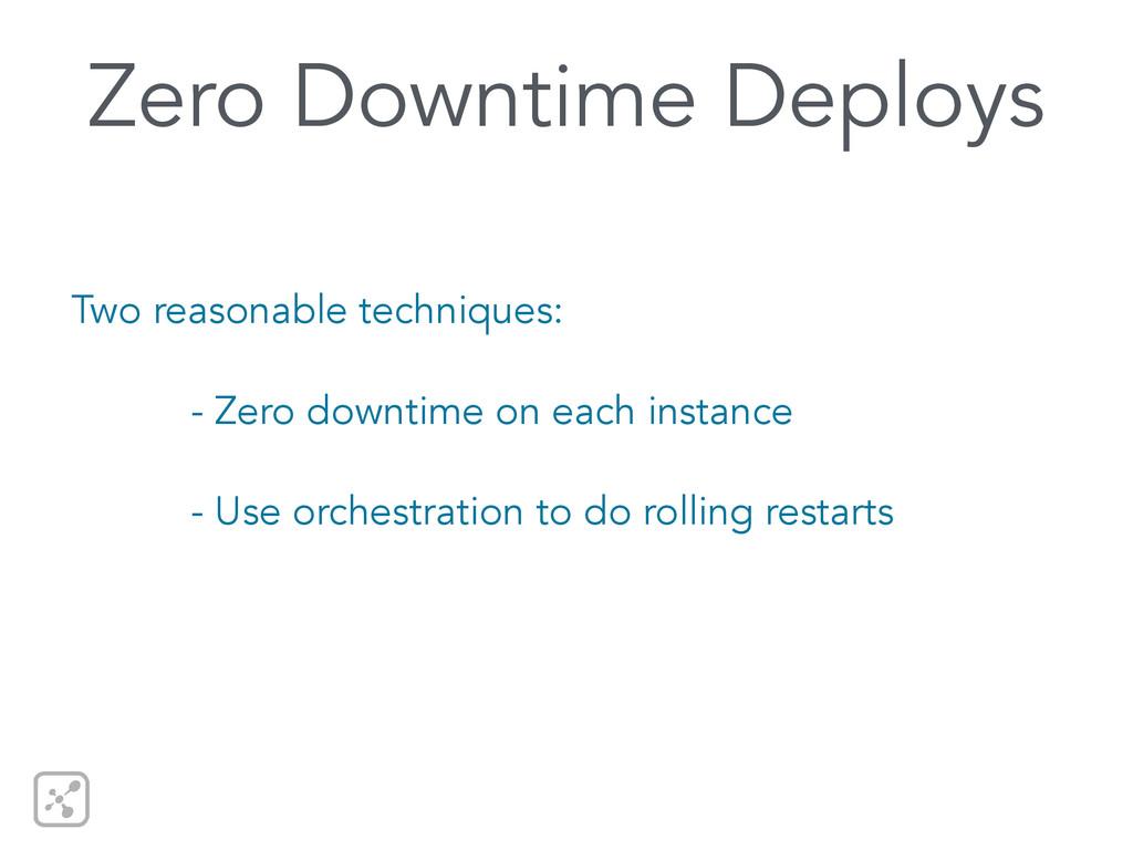 Zero Downtime Deploys Two reasonable techniques...