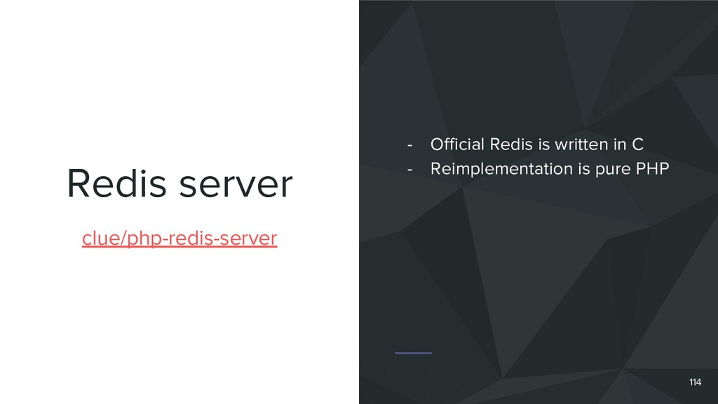 Redis server 114 clue/php-redis-server - Offici...