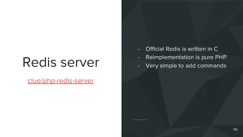 Redis server 115 clue/php-redis-server - Offici...