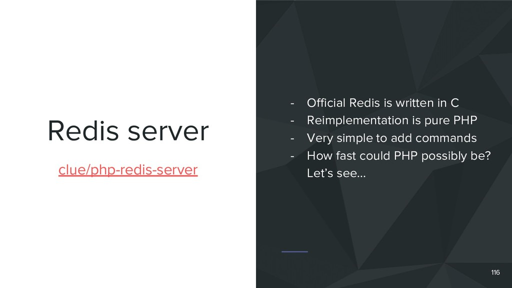 Redis server 116 clue/php-redis-server - Offici...