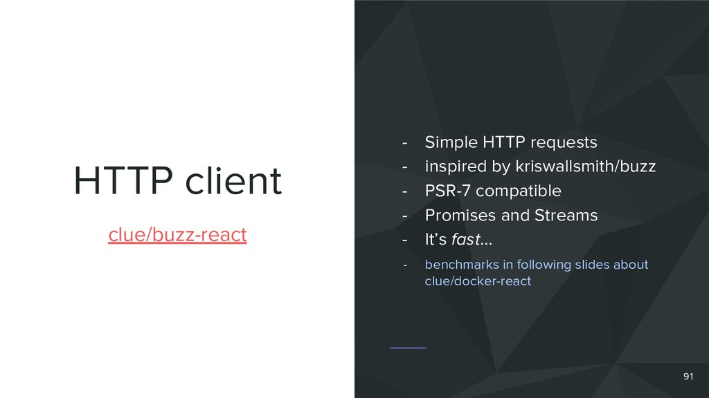 HTTP client 91 clue/buzz-react - Simple HTTP re...