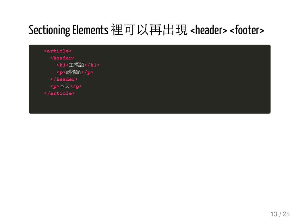 12 / 25 Sectioning Elements 裡可以再出現 <header> <fo...