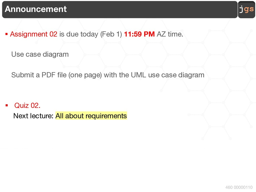 jgs 460 00000110 Announcement § Assignment 02 i...