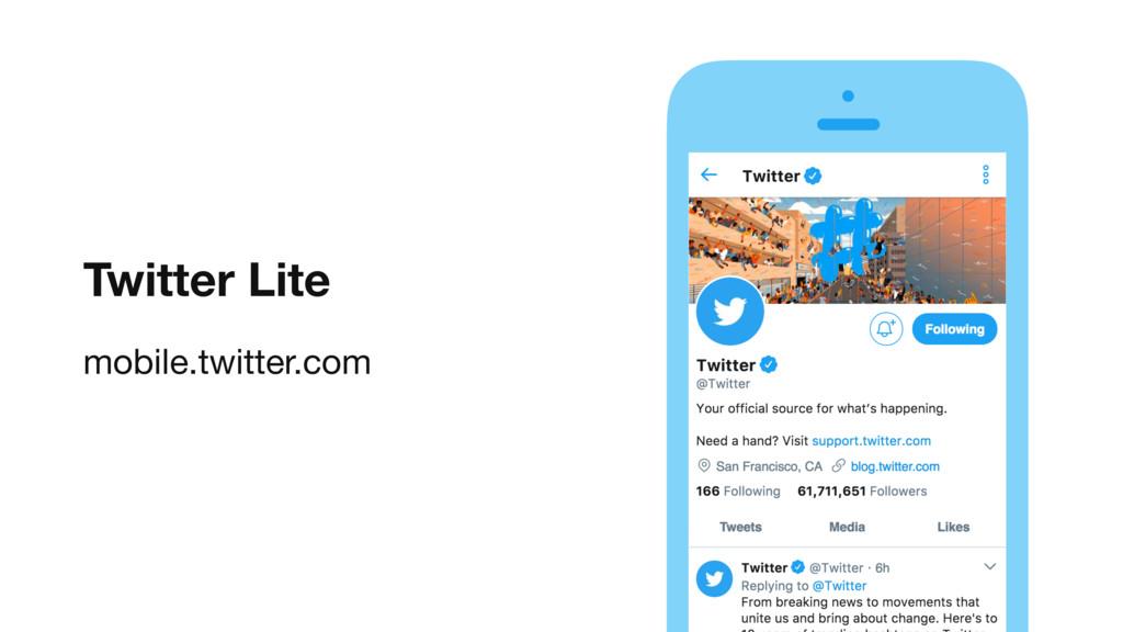 Twitter Lite mobile.twitter.com vv Here's where...