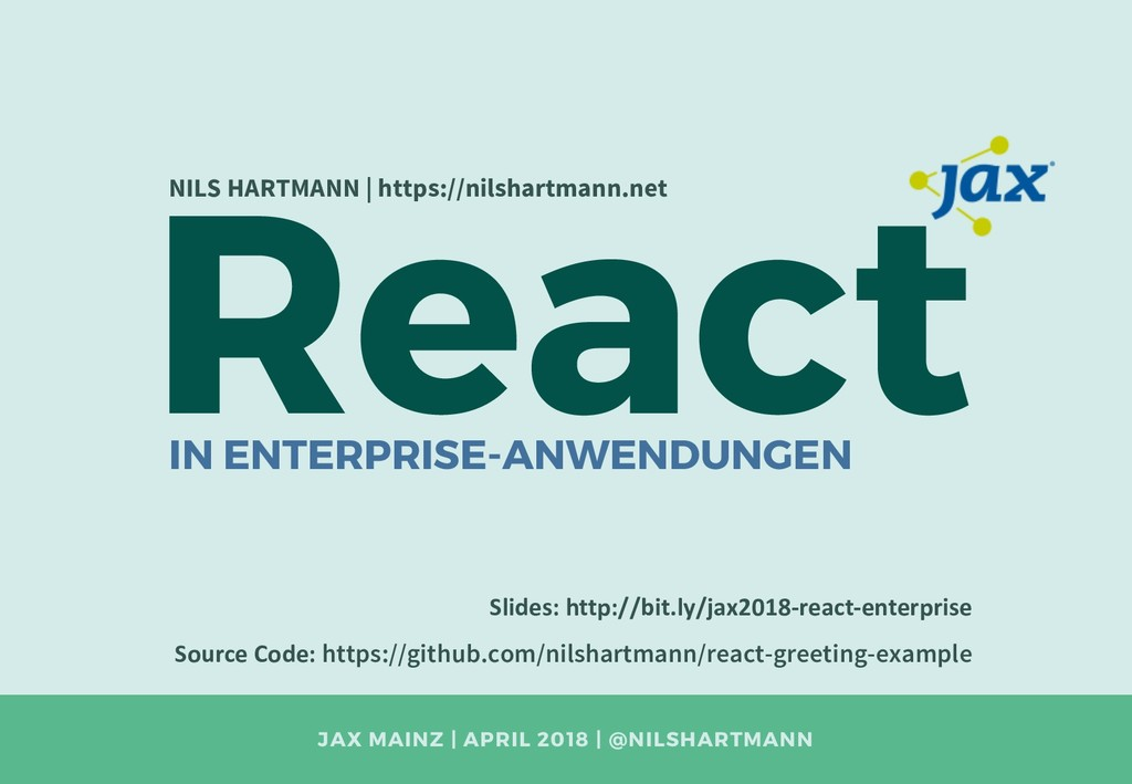 JAX MAINZ | APRIL 2018 | @NILSHARTMANN React NI...
