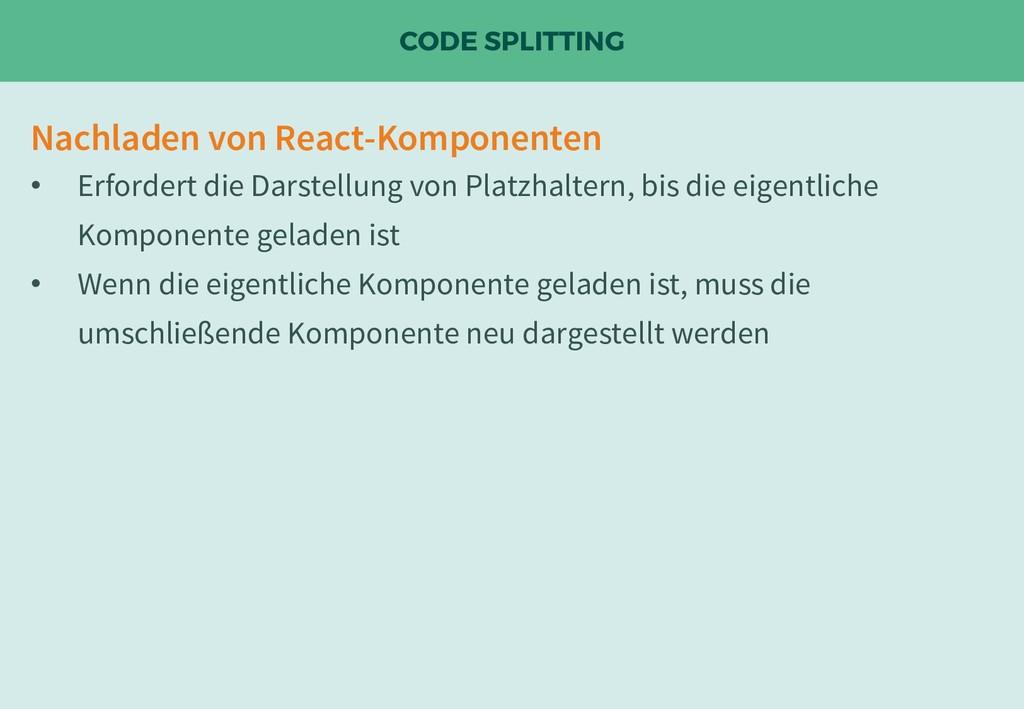 CODE SPLITTING Nachladen von React-Komponenten ...