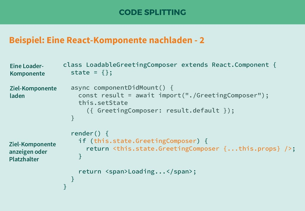 CODE SPLITTING class LoadableGreetingComposer e...