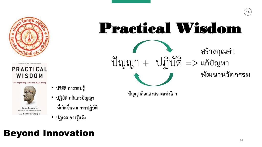14 Beyond Innovation • ปริยัติ กำรรอบรู้ • ปฏิบ...