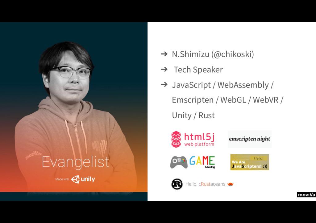 ➔ N.Shimizu (@chikoski) ➔ Tech Speaker ➔ JavaSc...