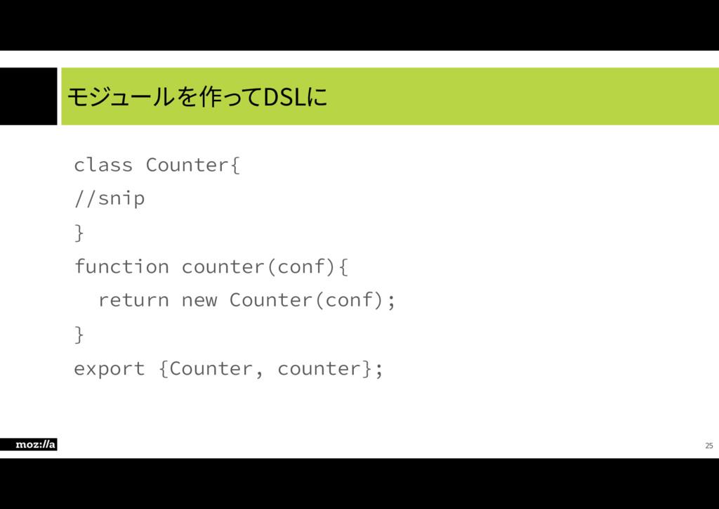 モジュールを作ってDSLに DMBTT$PVOUFS\ TOJQ ^ GVODU...
